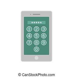 Device lock code icon, flat style