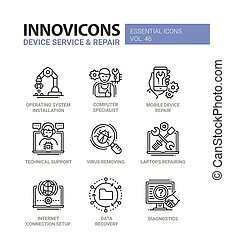 Device Service - modern vector line design icons set....