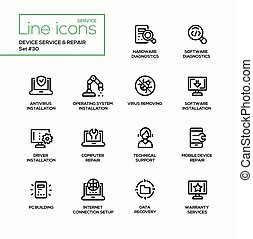 Device service repair - modern vector single line icons set....