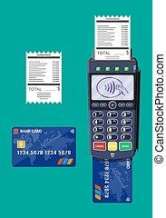 device., terminal., nowoczesny, wpłata, bank, pos