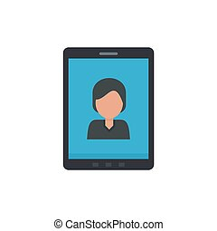 Device video call icon, flat style