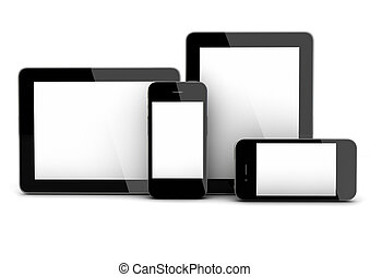 devices - 3d render of smartphones and tablet pc
