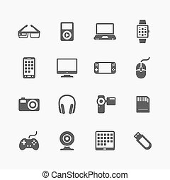 Devices and gadgets icons set