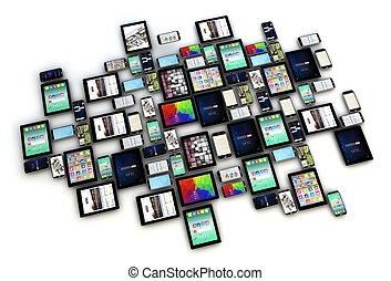 devices collection isolated - render of a collection of...