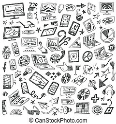 Devices , computers - doodles set
