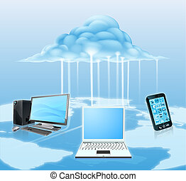 Devices connected to the cloud - Illustration of media...