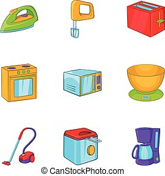 Devices for home icons set, cartoon style