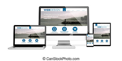 3d rendering of isolated devices with responsive website design. All screen graphics are made up.