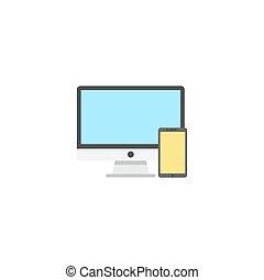 Devices line icon, color outline vector pixel perfect illustrati