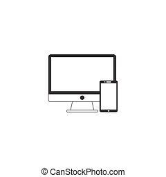 Devices line icon, outline vector pixel perfect illustration, li