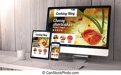 Digital generated devices on desktop, responsive blank mock-up with cooking blog website on screen. All screen graphics are made up.