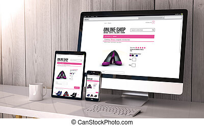 devices responsive with online shop - Digital generated...