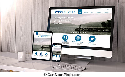 devices responsive with web design fluid template - Digital...