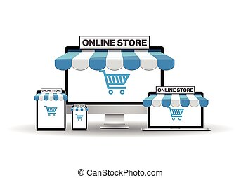 Devices with online store - E-commerce concept. Vector EPS...