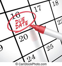 devido, marcado, palavras, data, calendário, círculo