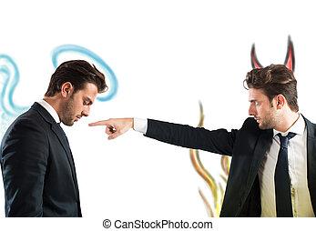 Devil accuses angel - Man as devil accuses man as Angel