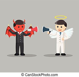 devil and angel businessman arguing with megaphone
