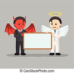 devil and angel businessman holding board