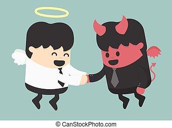 Devil and angel shake hands
