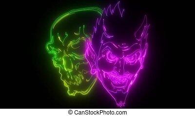 Devil and skull head illustration design