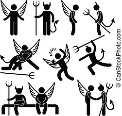 A set of pictogram representing devil and angel.