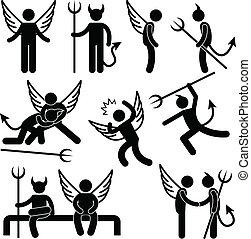 Devil Angel Friend Enemy Symbol - A set of pictogram...