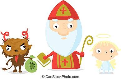 devil angel saint nicolas isolated on white - vector illustration