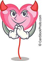 Devil ballon heart mascot cartoon