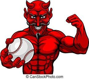 Devil Baseball Sports Mascot Holding Ball