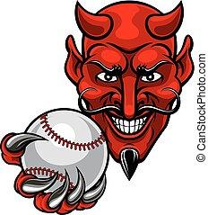 Devil Baseball Sports Mascot - A devil cartoon character...