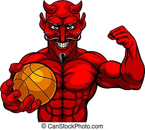 Devil Basketball Sports Mascot Holding Ball
