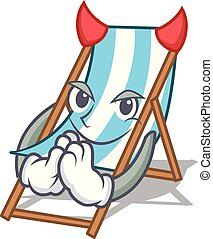 Devil beach chair mascot cartoon