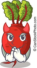 Devil beetroot with leaves isolated on mascot