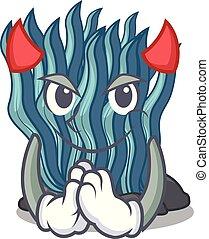 Devil blue seaweed cartoon under sea water