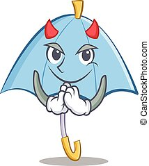 Devil blue umbrella character cartoon