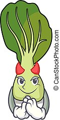 Devil bok choy mascot cartoon