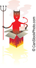 Devil box - Red devil that jump from a box with flames and...