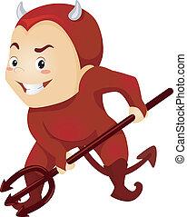 Devil Boy - Illustration of a Little Kid Boy as a Red Devil...