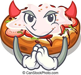 Devil bread bruschetta above cartoon wooden table