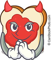 Devil bread with jam mascot cartoon