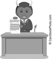 Devil businessman offering contract