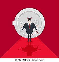 Devil businessman standing in front of a safe door.