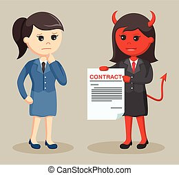 devil businesswoman offer contract to her victim