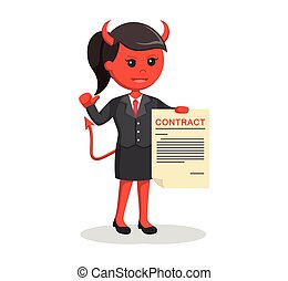 devil businesswoman offering contract