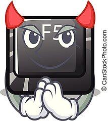 Devil button f5 in the shape cartoon vector illustration