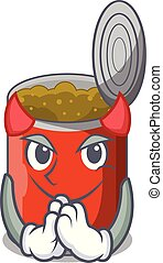 Devil canned food on the table cartoon