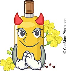 Devil canola oil above the chair character vector ...