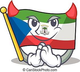 Devil Cartoon character of flag equatorial guinea Scroll ...