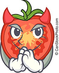 Devil cartoon fresh tomato slices for cooking