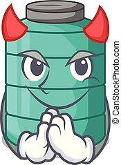 Devil cartoon water tank on the tower vector illustration